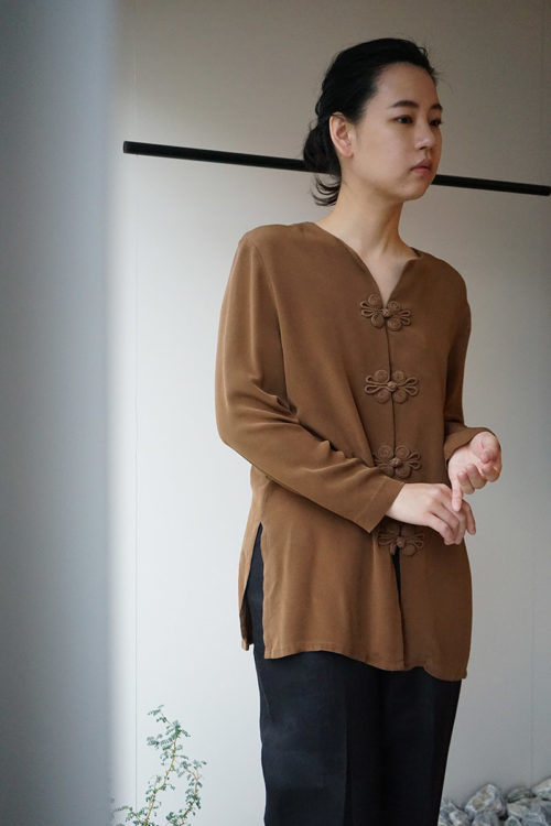 Design Button Silk Blouse