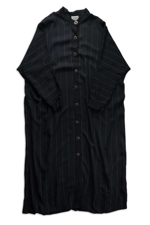Stripe No Collar Shirt Dress