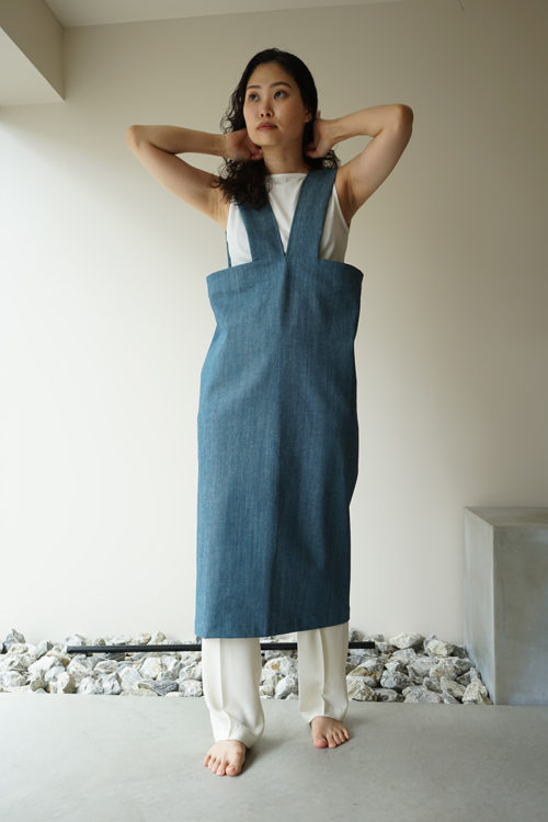 V-Denim Apron Dress
