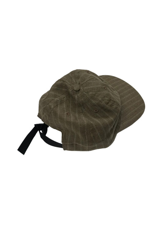 Adjustable Cap in Brown Pinstripe Linen