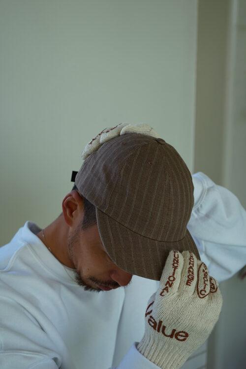 Adjustable Cap in Brown Pinstripe Linen