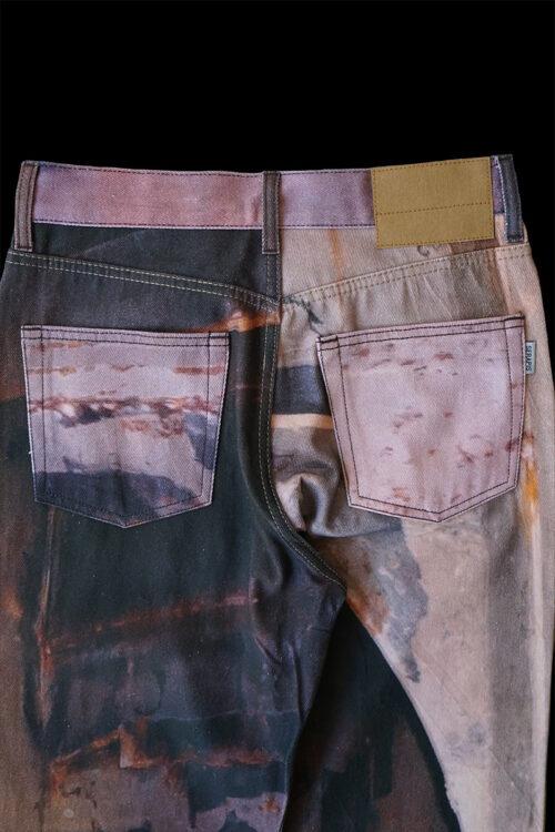Rust Print Denim Pants
